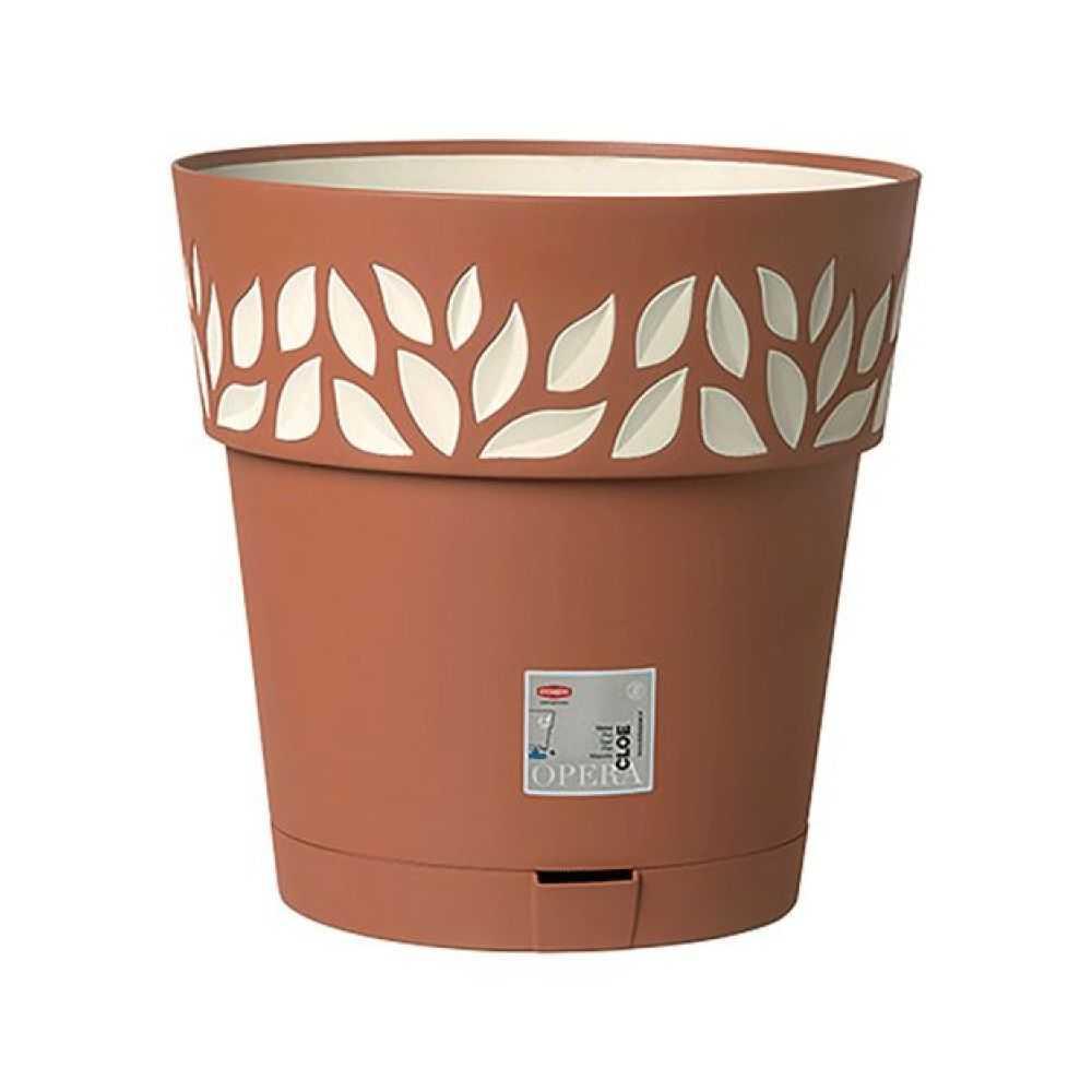 Vaso modello CLOE, in polipropilene senza sottovaso con bordo decorato e riserva d'acqua. Dimensioni  Ø cm 20, H  cm 19; Colore terra ombra/ vanilla