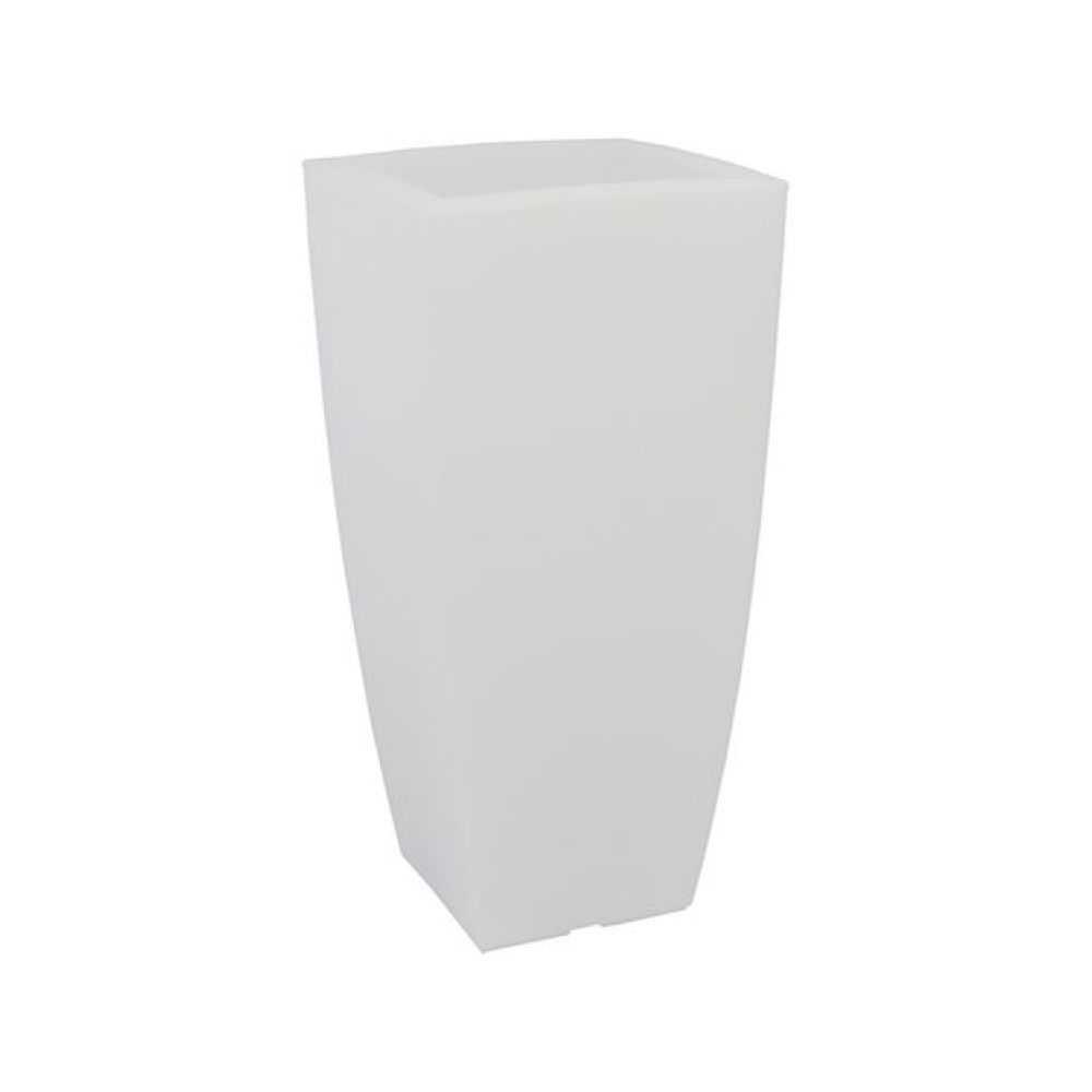 Vaso quadro STILO LAMP, in polietilene colorato, con illuminazione interna. Dimensioni cm 40x40xH cm 90, Litri 20. Colore ghia/luce bianca