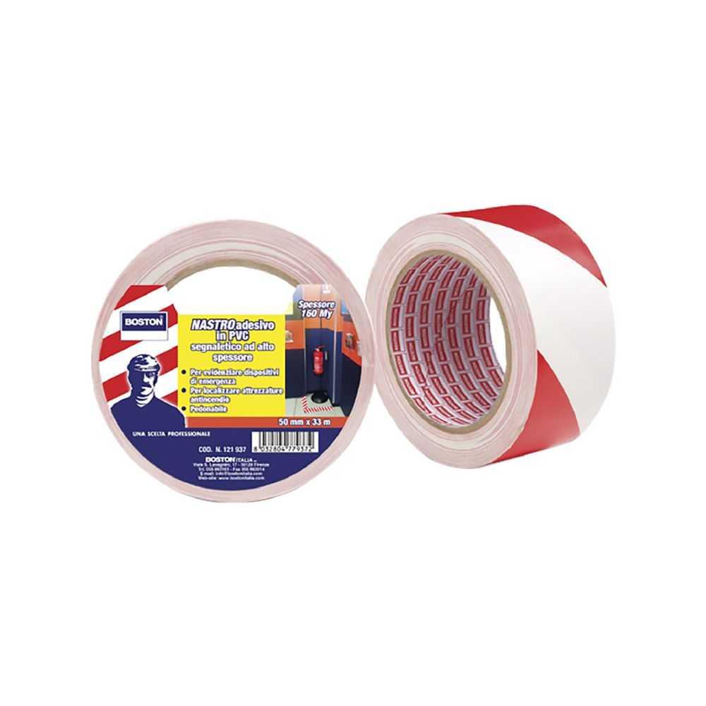 Nastro segnaletico adesivo bianco/rosso