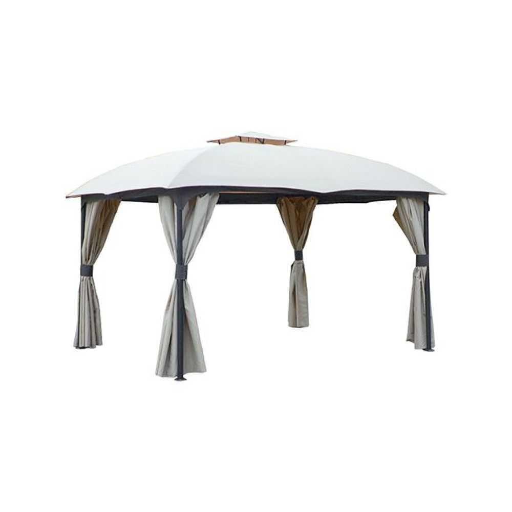 Gazebo modello UTAH, telaio in metallo grigio scuro,  telo di copertura e tende in poliestere colore ecru. Dimensioni mt 3,3x3,3, altezza massima al centro mt 2,98