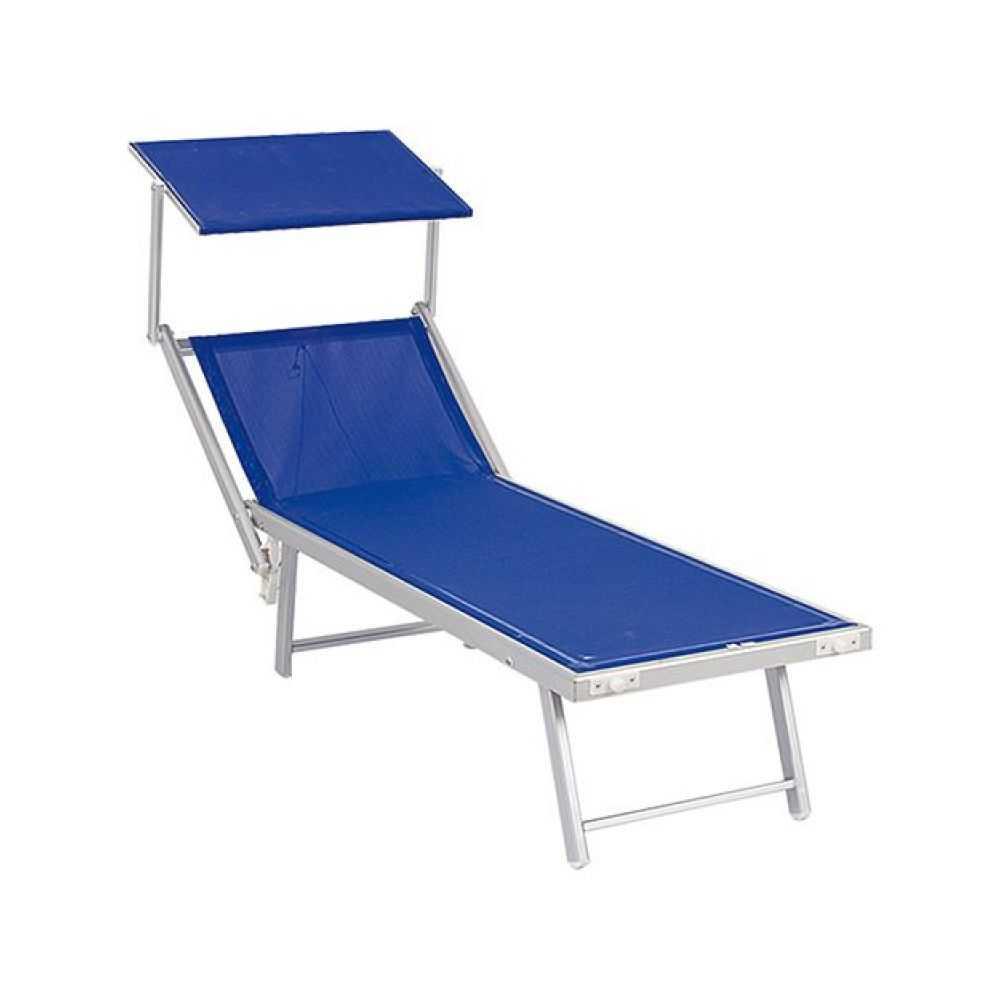 Lettino spiaggia con parasole, in alluminio, tipo fisso, tessuto in textilene colorato, cm 189x61xH40