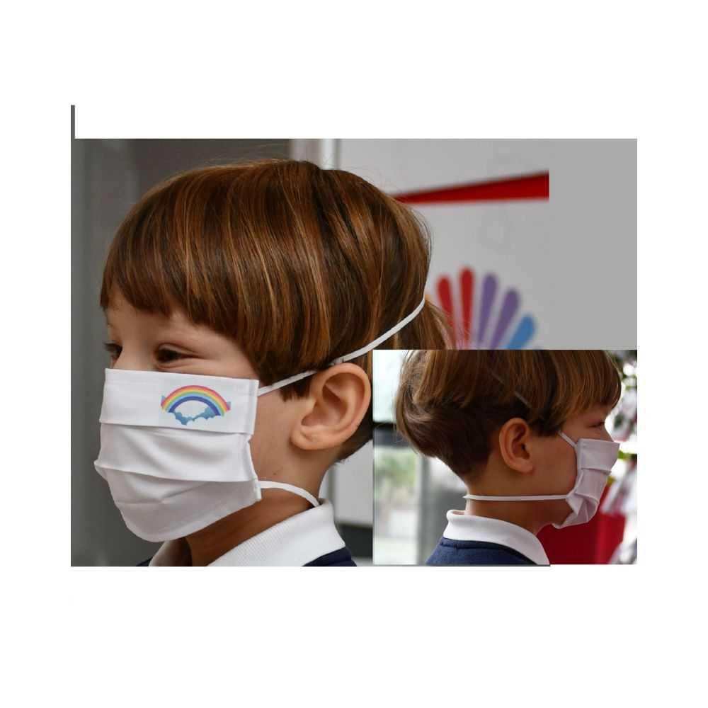 Mascherina igienica protettiva riutilizzabile 'bambino' 6/12 anni - bianca - cm 20 x 8