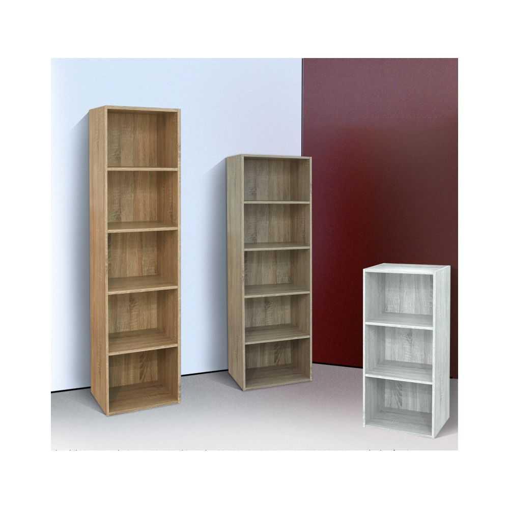 Libreria da studio READY in melaminico colore cemento, cm 40x29xH132